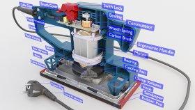 Sheet Orbital Sander Diagram 3D Model 1