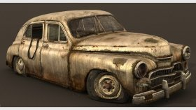 3d Model Old Abandoned Gaz M20 & Pobeda and Textures