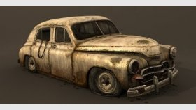 Lowpoly Gaz M20 & Pobeda, Game 3d model and Textures