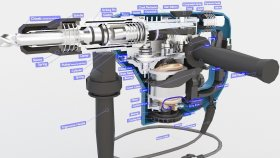 Lowpoly Hammer Electric SDS Rotary Drill Inside 3d (3)