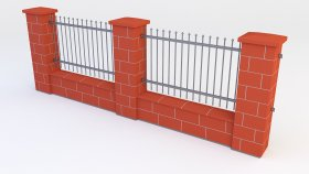 Fence Brick Block 3d (6)