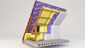 Attic Inside Two-layer Insulation and Wooden Profile 3d (2)