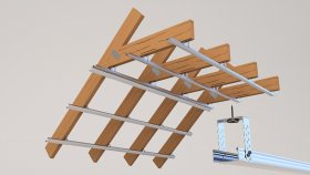 Attic Wooden Beams and Metal Profile 3d (14)