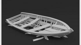 Old Abandoned Wooden Boat broken 3d