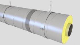 Cover Thermal Insulation Pipe Inside 3D Model 2