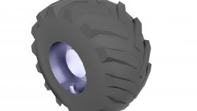 Forestry Equipment Tire Low Poly 3D Model 1