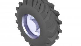Heavy Duty Tire Low Poly 3D Model 2