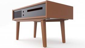 Gramophone & Turntable & TV Table Vintage 3D Model 1
