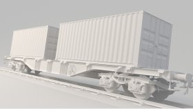 Lowpoly Train Container 3d (1)