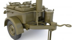 Mobile kitchen trailer military 3d