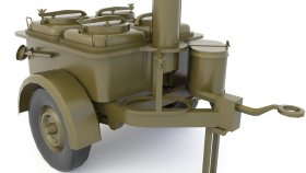 Lowpoly Mobile kitchen trailer military 3d