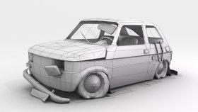 lowpoly Fiat 126p abandoned scrap