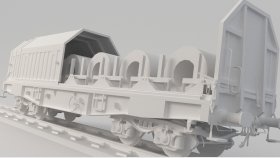 Simms Steel Coil Wagon 3D Model Low Poly 11