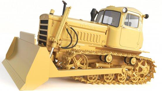 3D Model Soviet Heavy Equipment Bulldozer 3