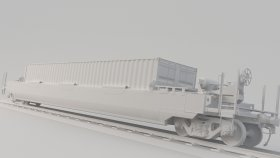 Train Pocket Wagon DTTX 3D Model 13