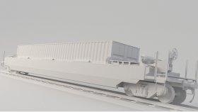 Well Wagon DTTX Intermodal Well Car 3D Model Low 13