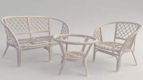 Garden Furniture Bamboo & Rattan Sofa Chair Table collection 3d models
