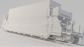 Lowpoly Train Container Pocket wagons DTTX 3d (14)