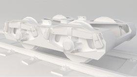 Train Railway Bogie Low Game Simulators 3D Model 5