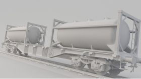 Flat Car Fuel Chemical Gas Low Poly Game Mods 3D Model 4