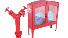 Outdoor Emergency Fire Hose House Box Fire Hydrant 3D Model 21