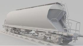 Cement Covered Hopper Car 3D Model UACS Low 7