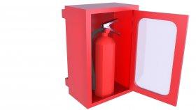 Low Polygon Wall Emergency Fire Extinguisher Box 3D Model 12