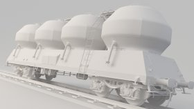 Cement Silo Wagon & Freight Carriage 3D Model Uacs 8