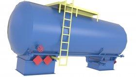 3D Model Horizontal Chemical Tank LowPoly 9