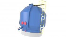 Storage Liquid Gas & Chemical Pressure Tank Low Poly 3D Model 11