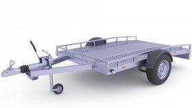 Quad Motor Bike Cargo Trailer 3D Model 31