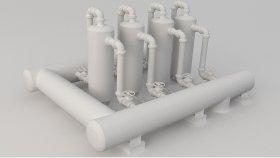 Refinery Plant Tank Low poly 3D Model 5