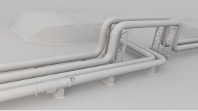 District Heating Pipes 3D Models Low