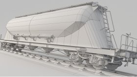 Powder Rail Car 3D Model Low Uacns UV 12