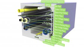 Urban Utility Water Gas Sewer Steam Pipes Cables Tunnel 3D Model 38
