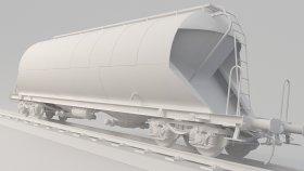 Powder Silo Cement Wagon 3D Model Uacs 7