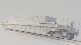 Intermodal Well Car 3D Model DTTX 21