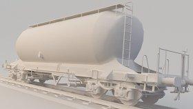 Silo Cement Train 3D Model Low Uacs 20