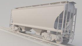 Cement & Sand & Grain Covered Hopper Car 3D Model Ncux Low 22