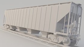 Covered Hopper Car 3D Model Low Poly 23