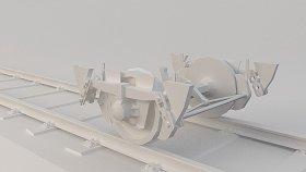 Train Wagon Bogie Low 3D Model 2