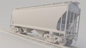 Covered Hopper Railcar 3D Model Ncux 22