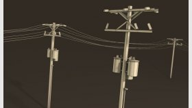 Electric Pole Telephone Line Pole Game 3D Model