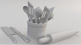 Wooden Cutlery Fork Knife Roller Spoon 3D Model