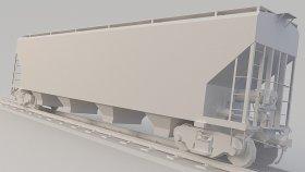 Covered Hopper Car Train Mobile Game 3D Model 23
