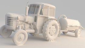 Tractor Septic Tanker 3D Model
