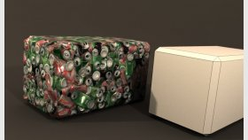 Lowpoly crushed cans and Textures