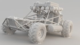 Lowpoly Buggy Apocalyptic car 3d 1