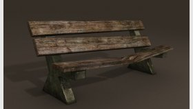Lowpoly bench Game Model and Textures