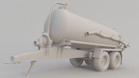 Farm Septic Tank Trailer 3D Model 2